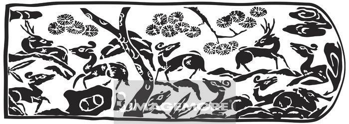 古代,玉饰,传统,艺术,古早,图腾,玉器,纹饰,图案,拓印,装饰,动物,鹿群