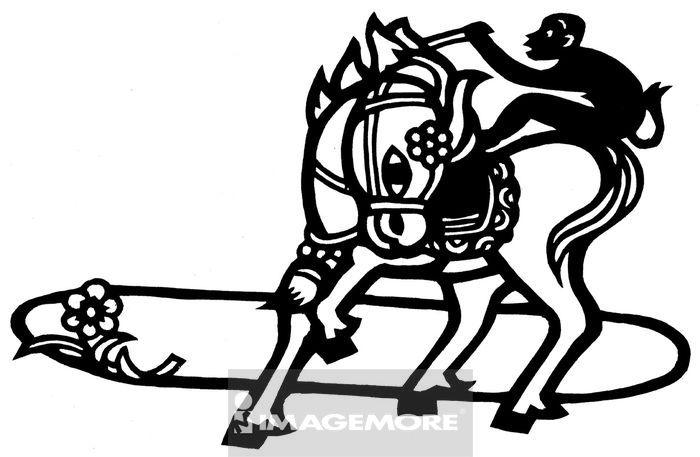 传统艺术,纸雕,手工艺品,剪纸,手工艺,装饰,传统,古早,动物,猴子,马