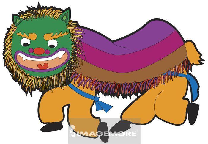 舞狮简笔画彩色