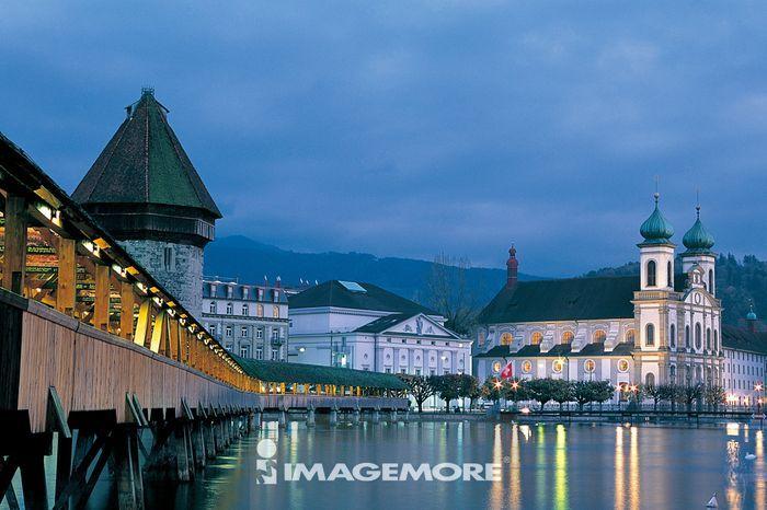 瑞士,琉森,城堡,灯,水