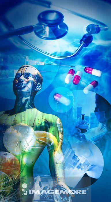 人体,胶囊,听诊器