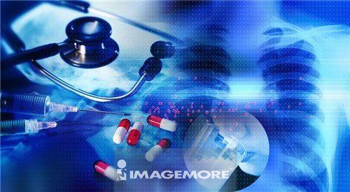 听诊器,胶囊,X光片