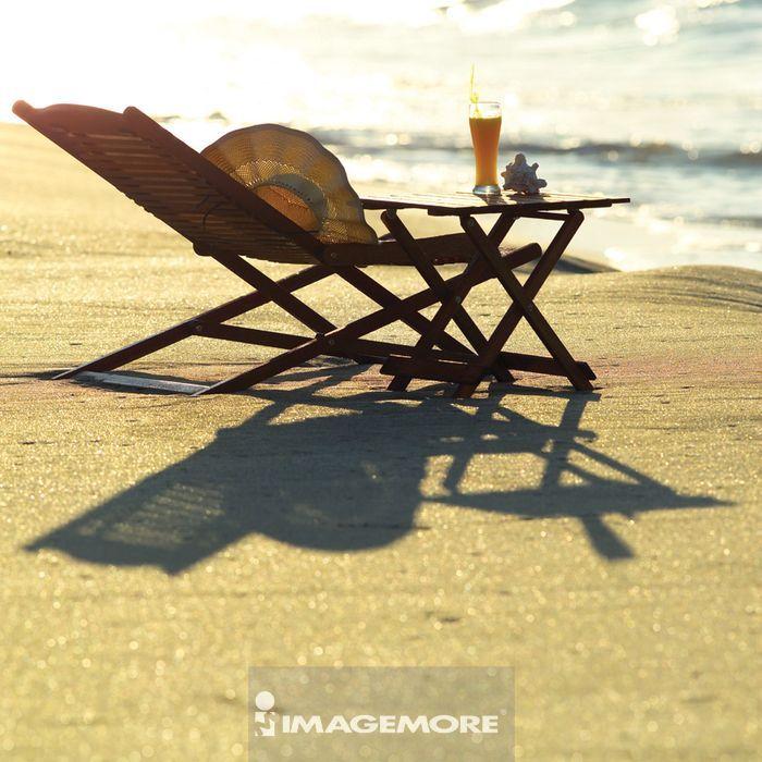 海边,沙滩,躺椅