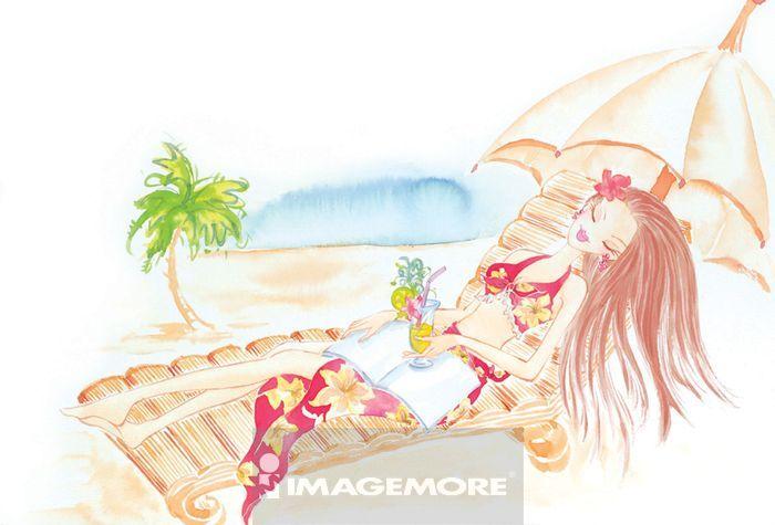 女性,星座,巨蟹座,日光浴,