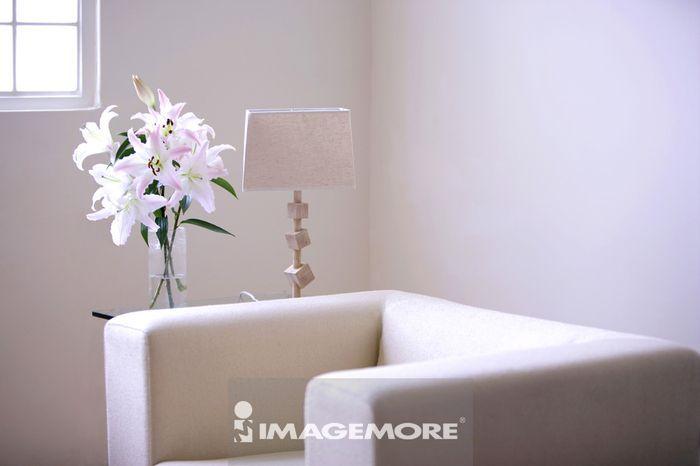 沙发,台灯,花
