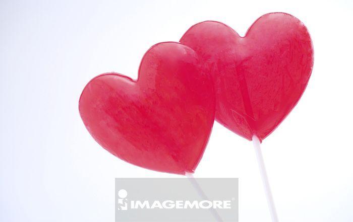红色心型棒棒糖