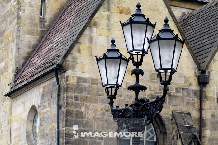 欧洲文化,浪漫,砖块,砖墙,欧式建筑,古典风格,房子,路灯,街灯,米色