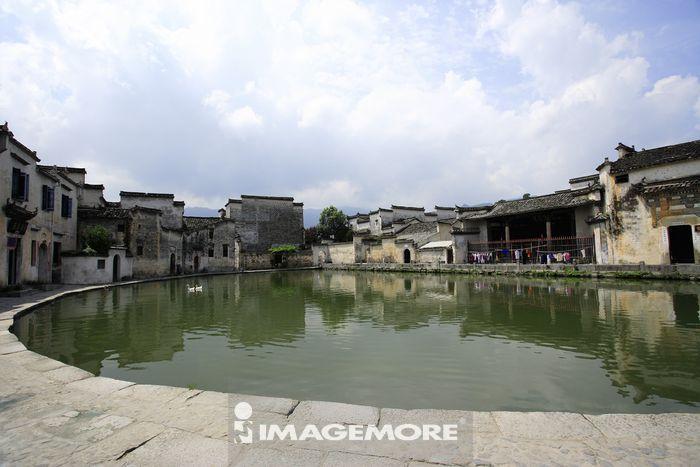 中国,安徽省,宏村,半月塘