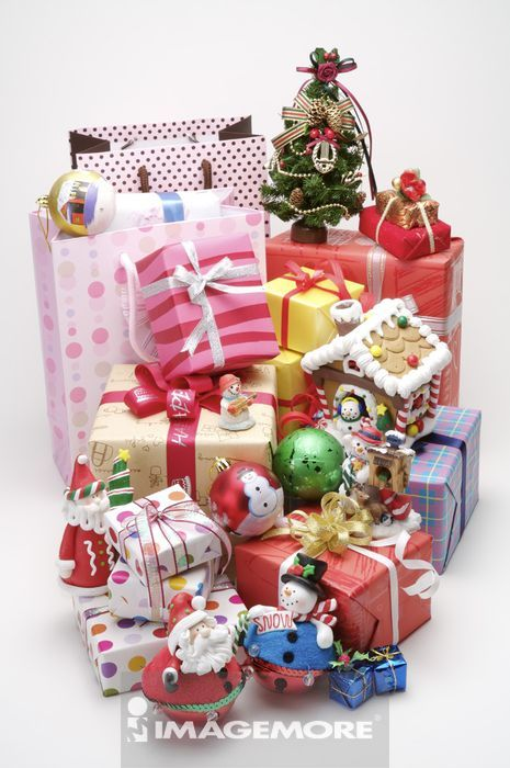 无人,大量,直图,礼物,圣诞节,圣诞老人,购物袋,玩具,白背景,一堆,圆形