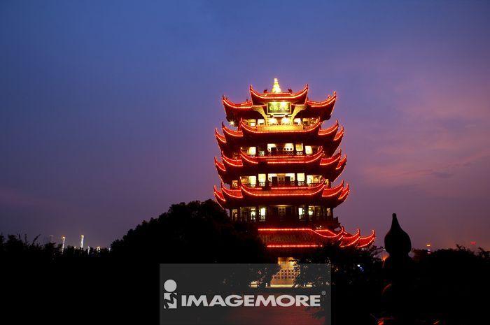 中国,湖北省,武汉,武昌,黄鹤楼,夜景