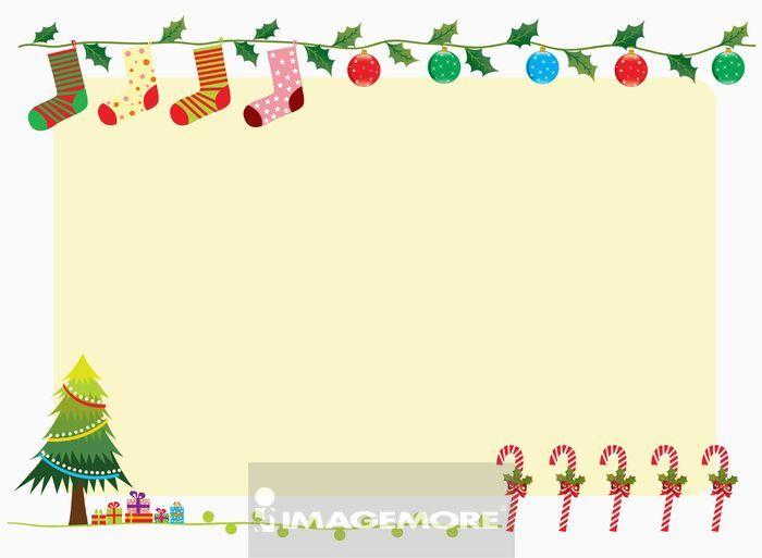 圣诞树,拐杖糖,礼盒,传统文化,绿叶,鲜艳,丰富,幻想,创意,边框,aim004