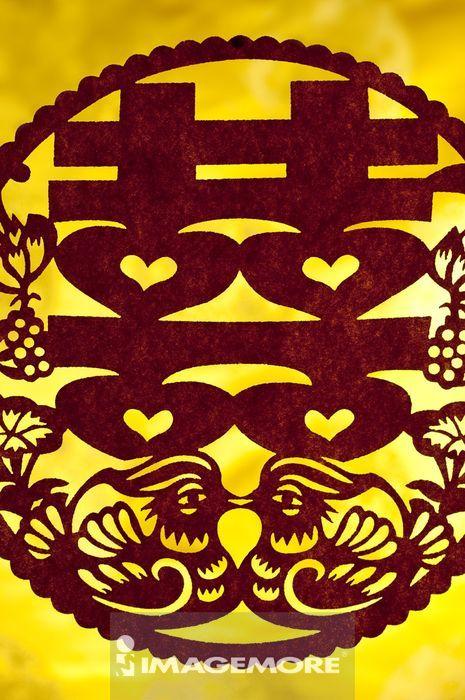 对称,爱情,吉祥,幸福,艺术,概念和主题,喜字,黄色背景,传统艺术,鸳鸯