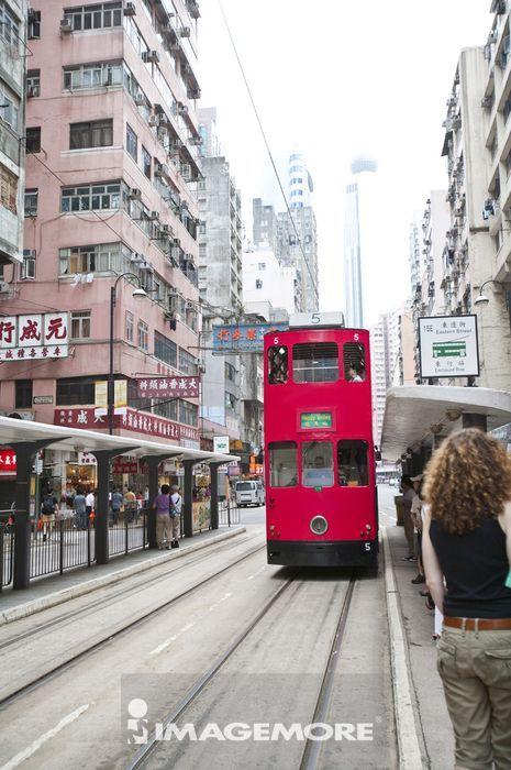 亚洲,香港,香港岛,街景,当当车,