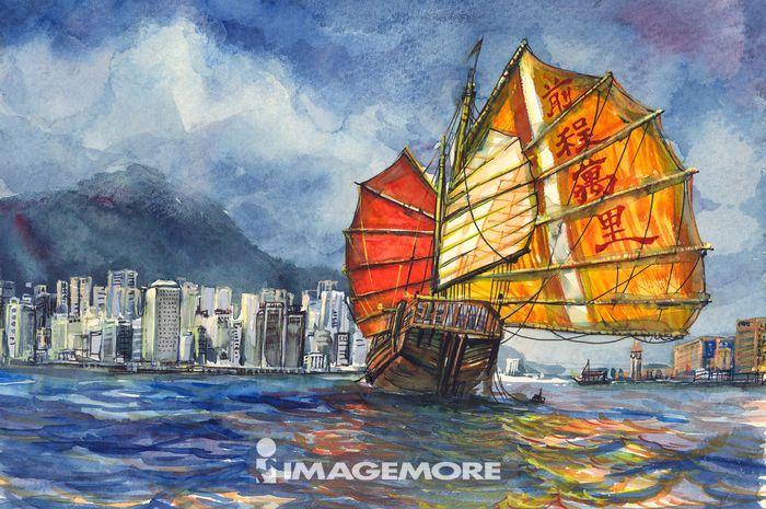 水彩画 船