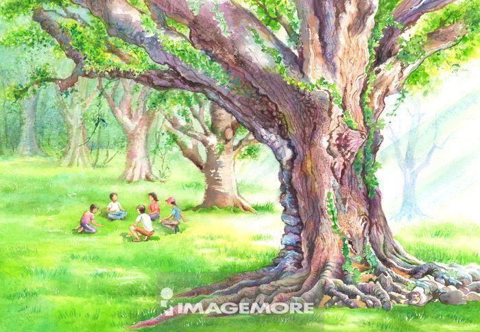 水彩画,树