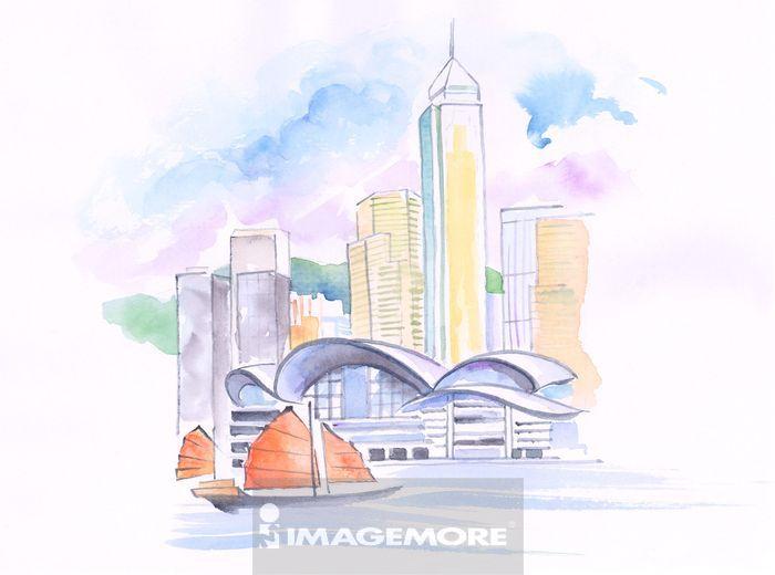 水彩画,大都市建筑