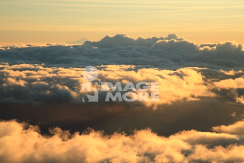Morning Glow And Field Of Clouds, Maui, Hawaii, U.S.A.