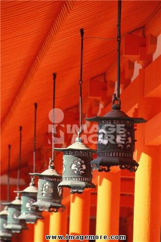 Lantern hanging at Heian Jingu Shrine, Kyoto Prefecture, Japan