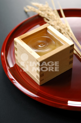 Sake in small wooden box