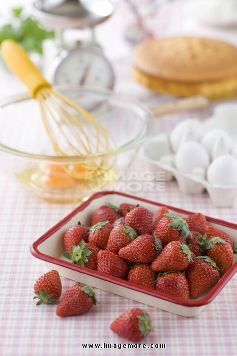 Strawberry and Ingredients of Cake