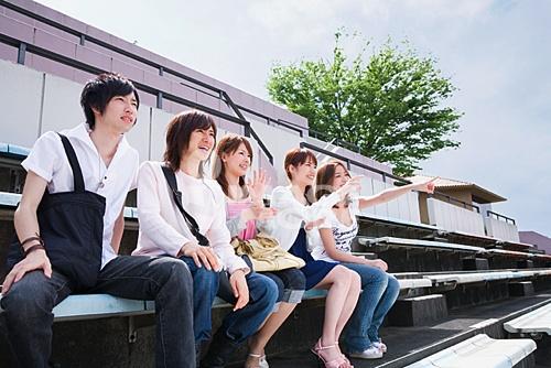 东方人物,青年,青年女人,女性,青年男人,男性,大学生,五个人,一群人