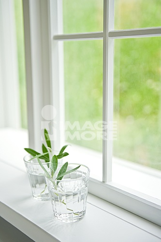 Two glasses near the window