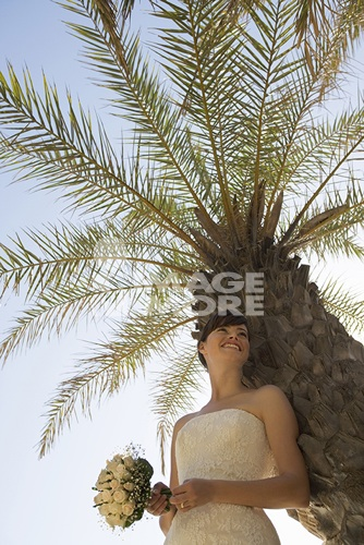 A bride standing in the shade of a palm tree