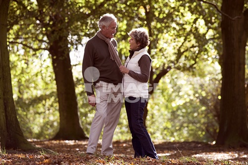 A senior couple in autumn time