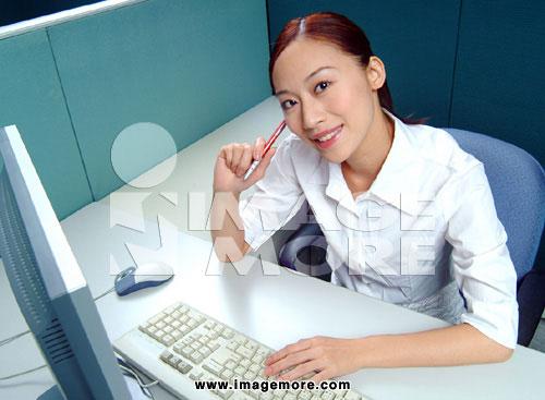 女人,办公室,计算机