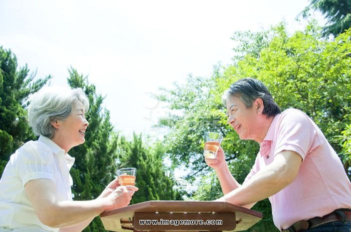 Senior couple chatting in the garden