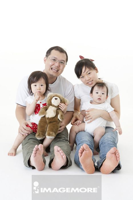 父亲,儿子,女儿,二个孩子的家庭,父母