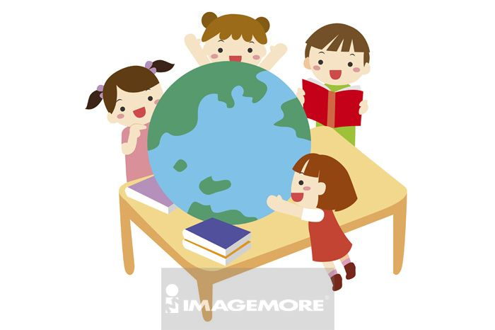 学生,地球仪,