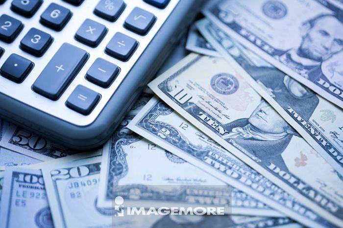 金融,货币,纸币,美钞,美元纸钞,计算器,钱,