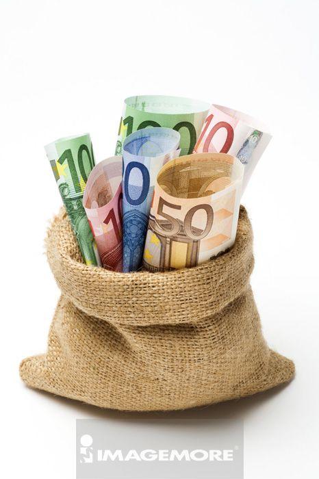 金融,货币,纸币,钱,欧元,布袋