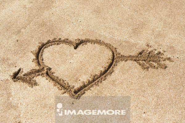 海滩,沙子,心型