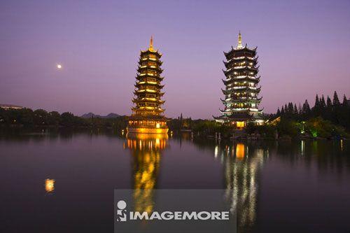 中国,广西,桂林,金银双塔