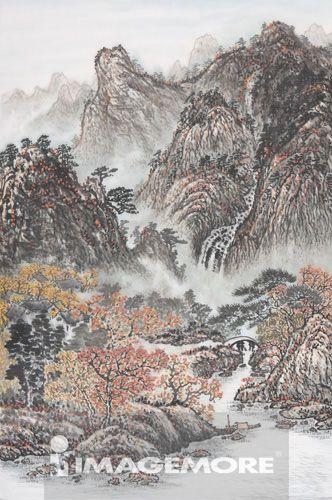 国画,河流,高山