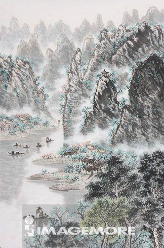 国画,河流,山