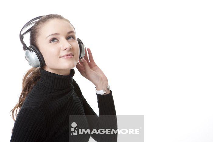 听音乐,青少年女孩,欧洲人