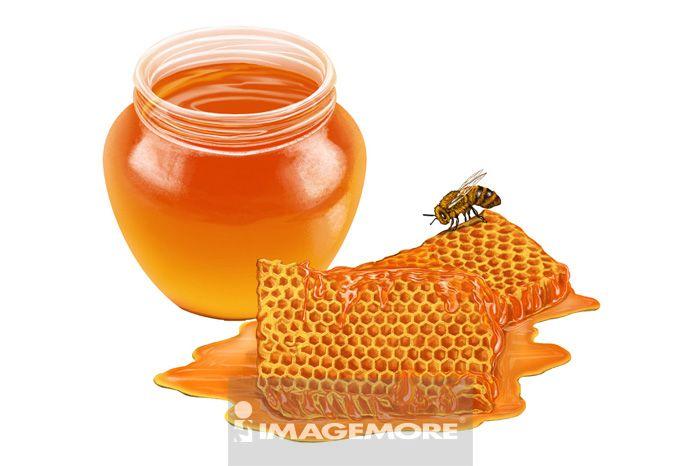 插画,中药,蜂蜜,