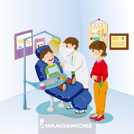 插画,牙医,母亲,儿子,