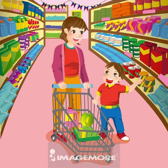 插画,母亲,儿子,超级市场,