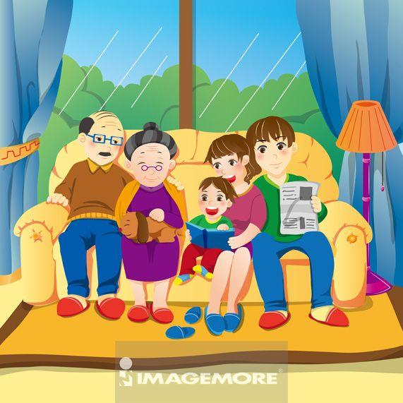 插画,祖父,祖母,父亲,母亲,儿子,