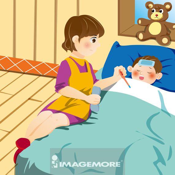 插画,母亲,儿子,照顾,