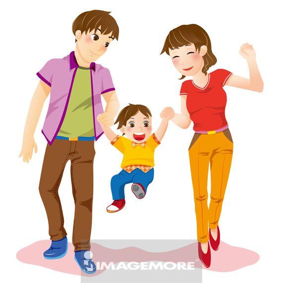 插画,父亲,母亲,儿子