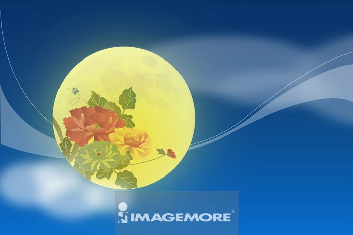 中秋节,月亮,花,