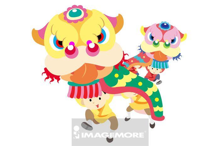 舞龙舞狮,新年,春节,横图,亚洲文化