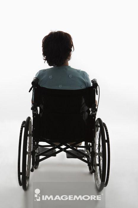 轮椅,老年女人