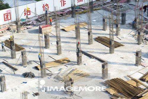 中国,上海,建筑工地,钢筋