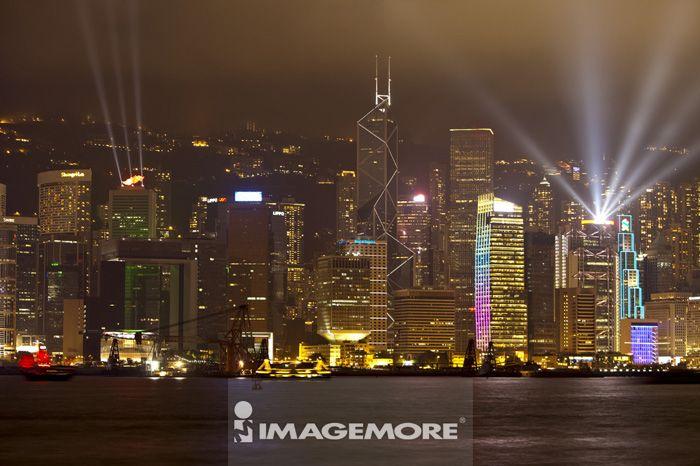 亚洲,香港,香港岛,维多利亚港,夜景,